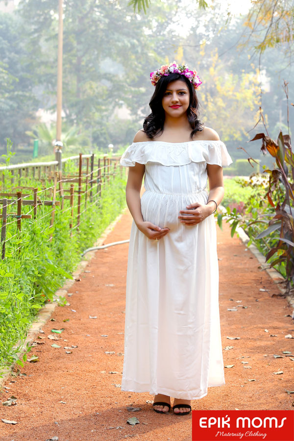 Pearly White off-shoulder Maternity Dress