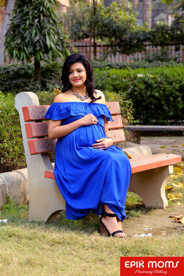 Ultramarine Blue wrap around Maternity and Nursing Dress