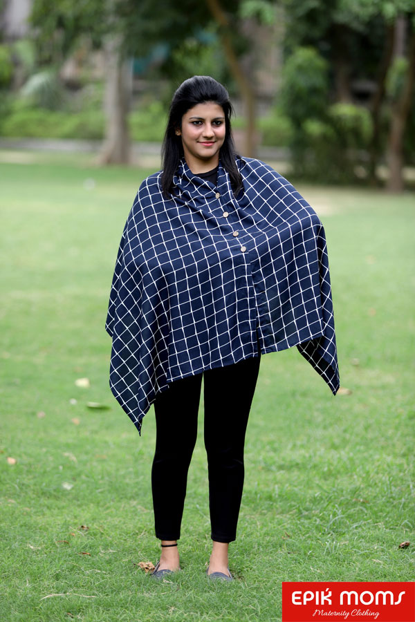 Navy Checkered Maternity and Nursing Stole