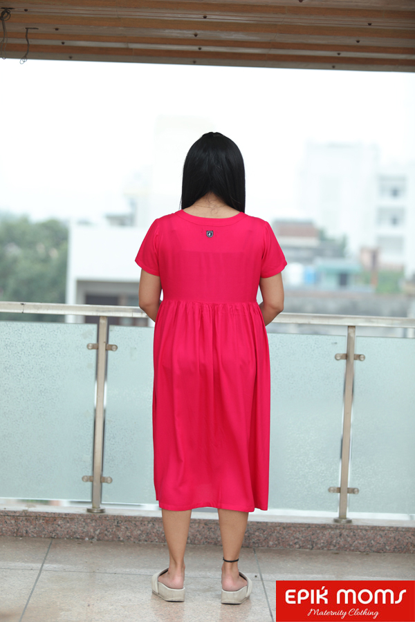 French Rose Maternity and Nursing Dress