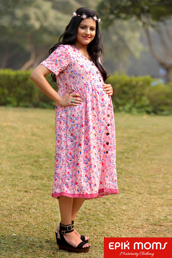 Blushing Scarlet Maternity and Nursing Dress