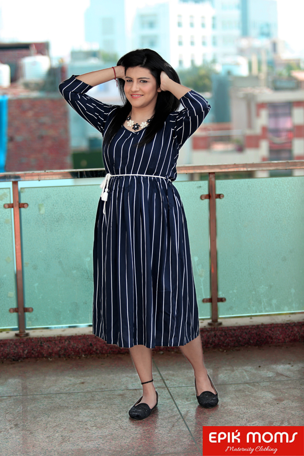 Navy Pinstriped Maternity & Nursing Dress
