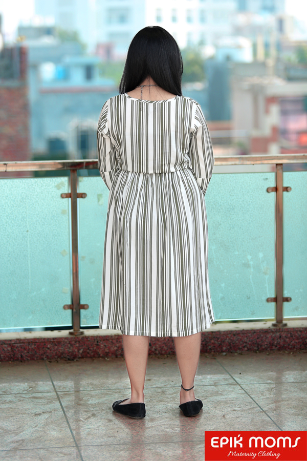 Slaty Stripes Maternity And Nursing Dress