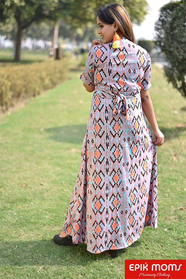 Take Me in Your Arms – Orange Square Print Wrap Dress