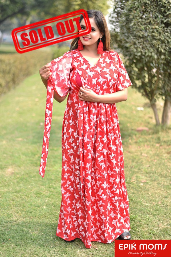 Red Hot Butterfly Print Wrap Dress