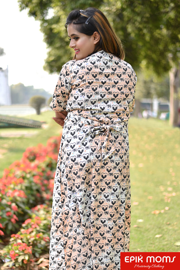 Smoothing Dual Shades Print – Wrap  Dress