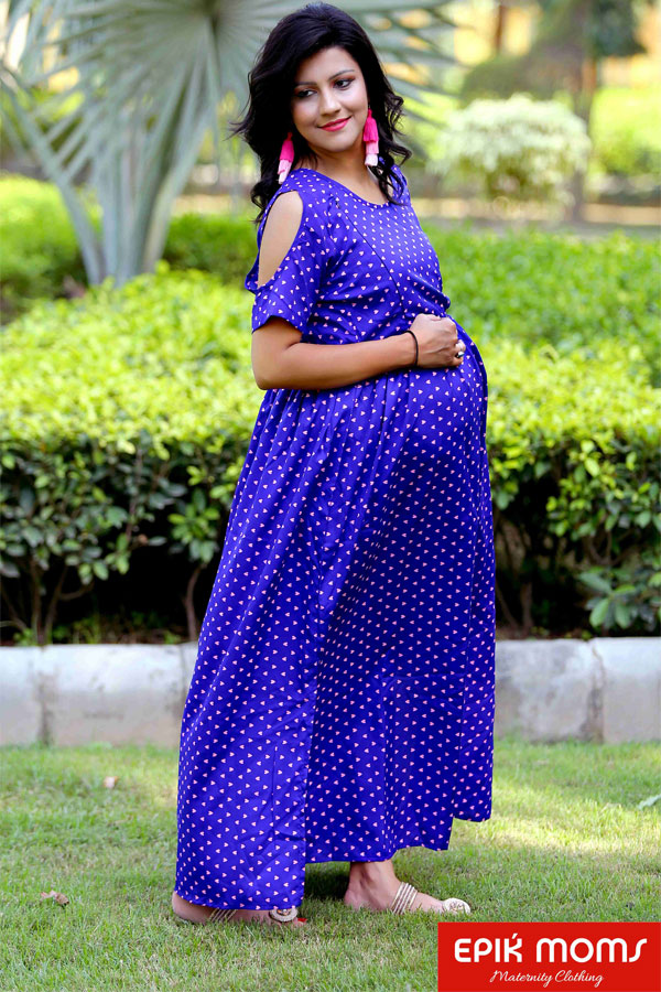 Raining Hearts Cold Shoulder Maternity Dress