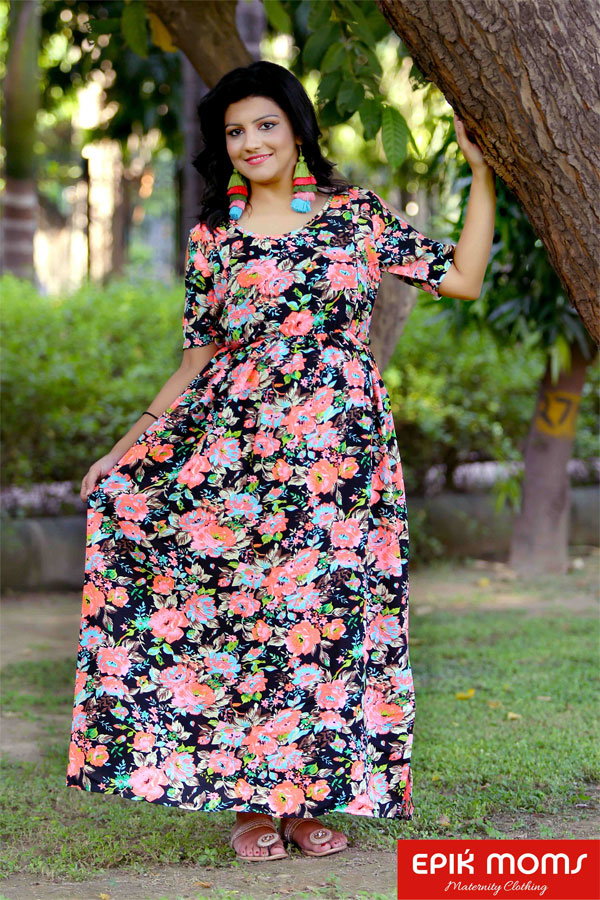 Mid-night Blossom Maternity & Nursing Maxi Dress