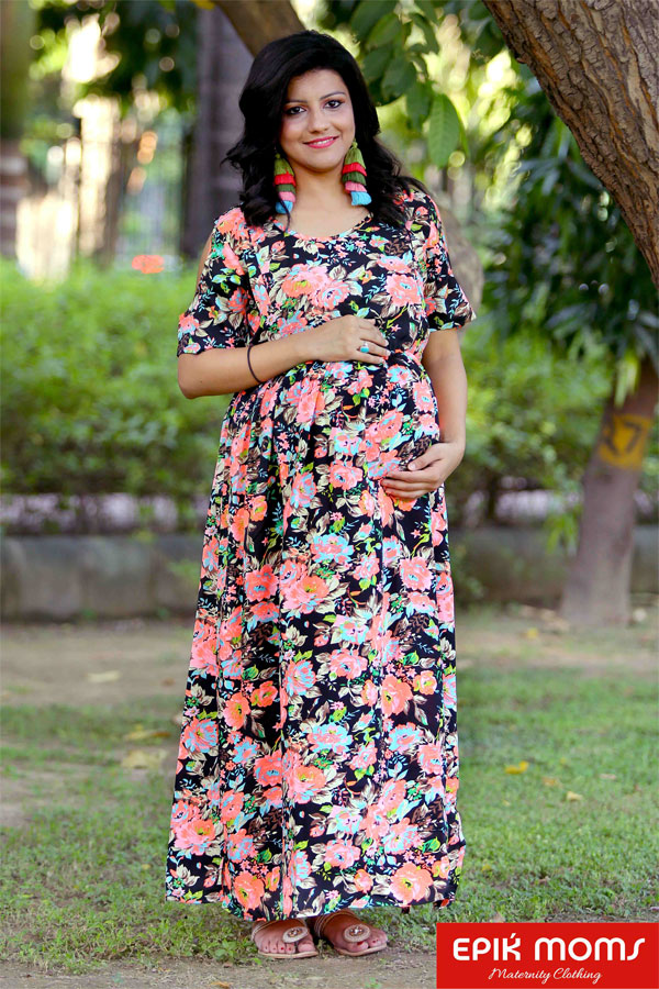 Mid-night Blossom Maternity & Nursing Maxi Dre...