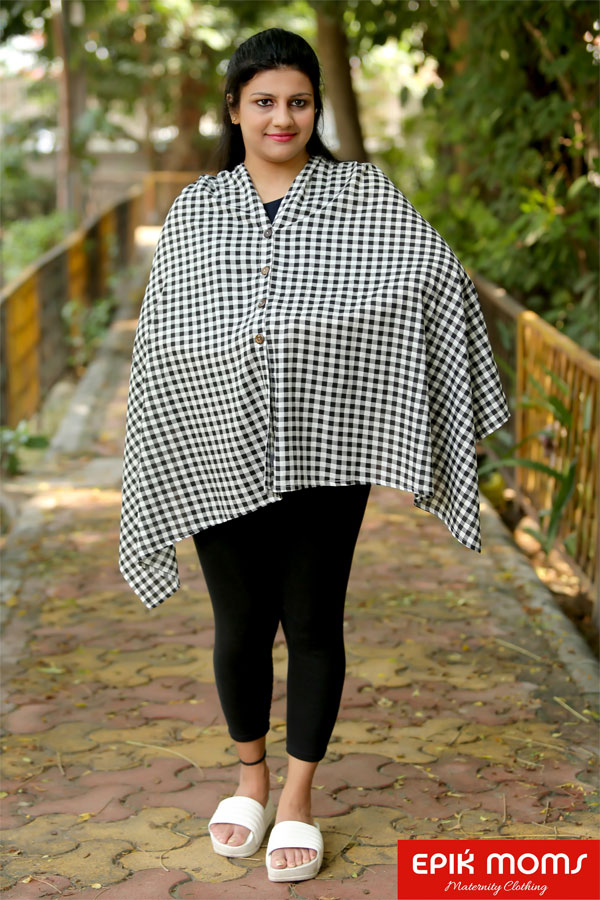 Gingham Checkered Maternity & Nursing Stole