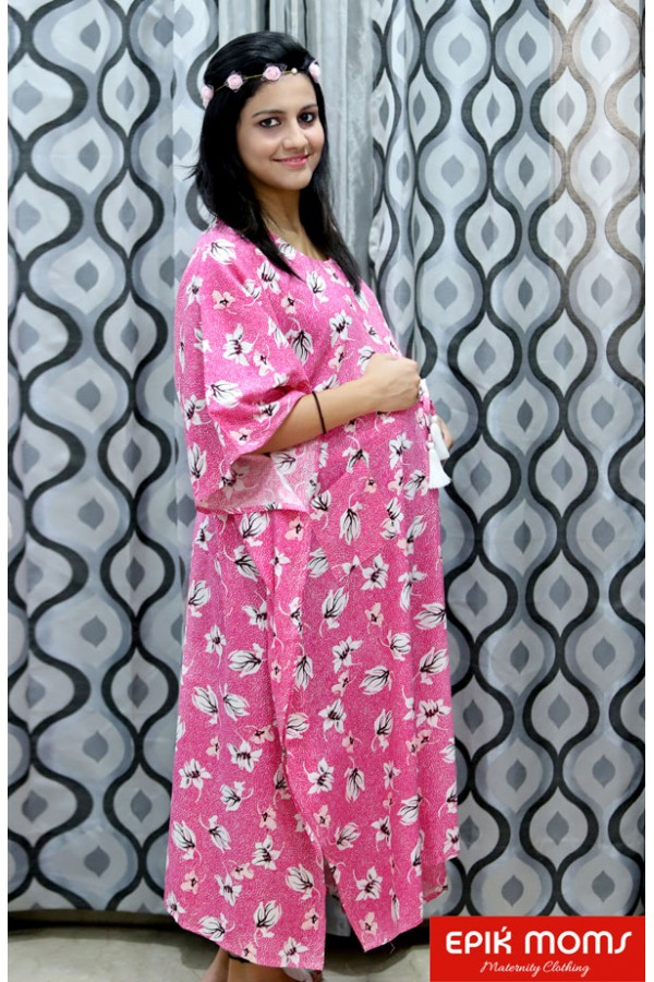 Fuchsia Pink Maternity and Nursing Kaftan Dress