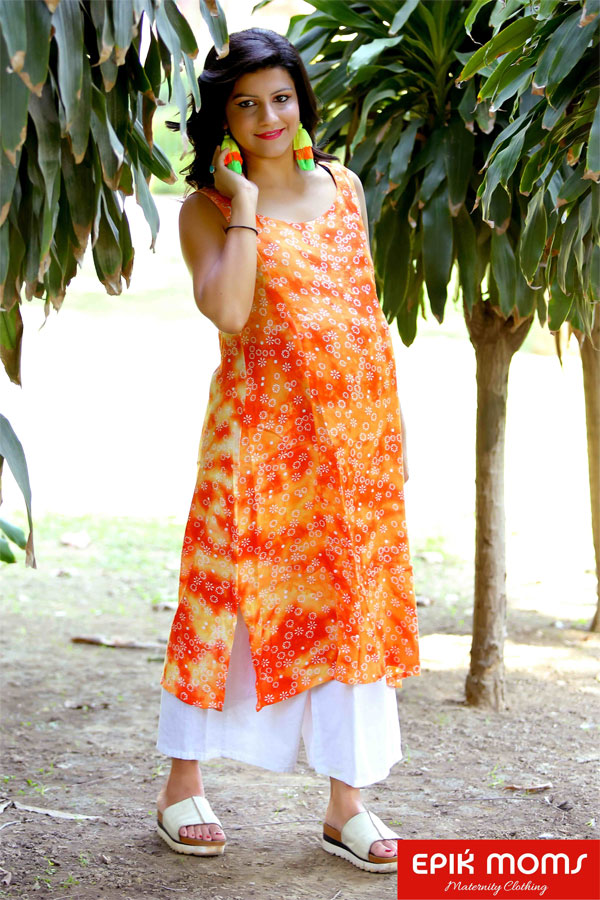 Classic Orange Sleeveless Maternity & Nursing ...