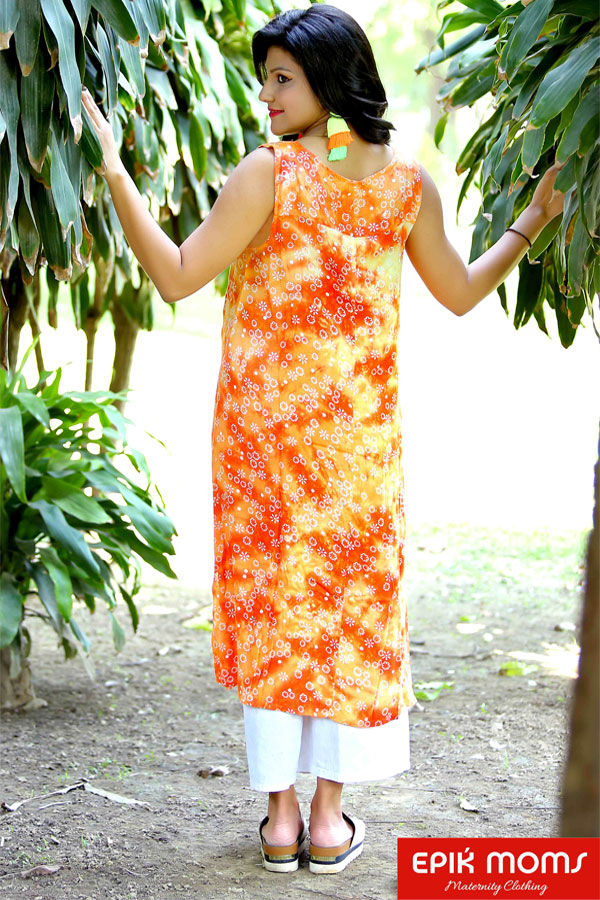 Classic Orange Sleeveless Maternity & Nursing Kurti