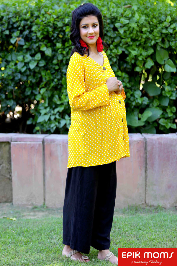 SUNRISE POLKA BUTTONED MATERNITY TOP